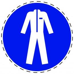Panneau Autocollant D'Obligation - Vêtements de Protection Obligatoires