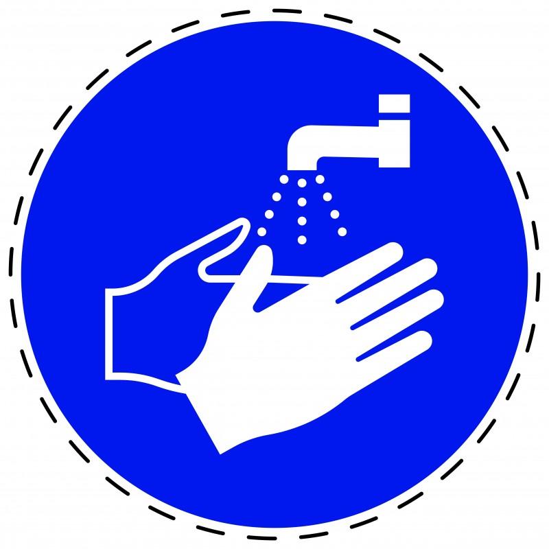 Panneau Autocollant D'Obligation - Lavage des Mains Obligatoires