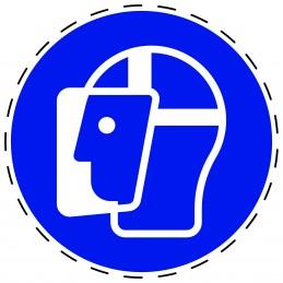 Panneau Autocollant D'Obligation - Visière de Protection Obligatoire