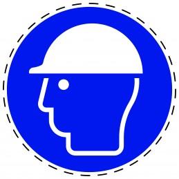 Panneau Autocollant D'Obligation - Casque de Protection Obligatoire