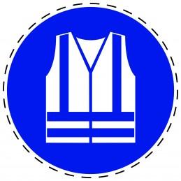 Panneau Autocollant D'Obligation - Gilet de Sécurité Haute Visibilité Obligatoire