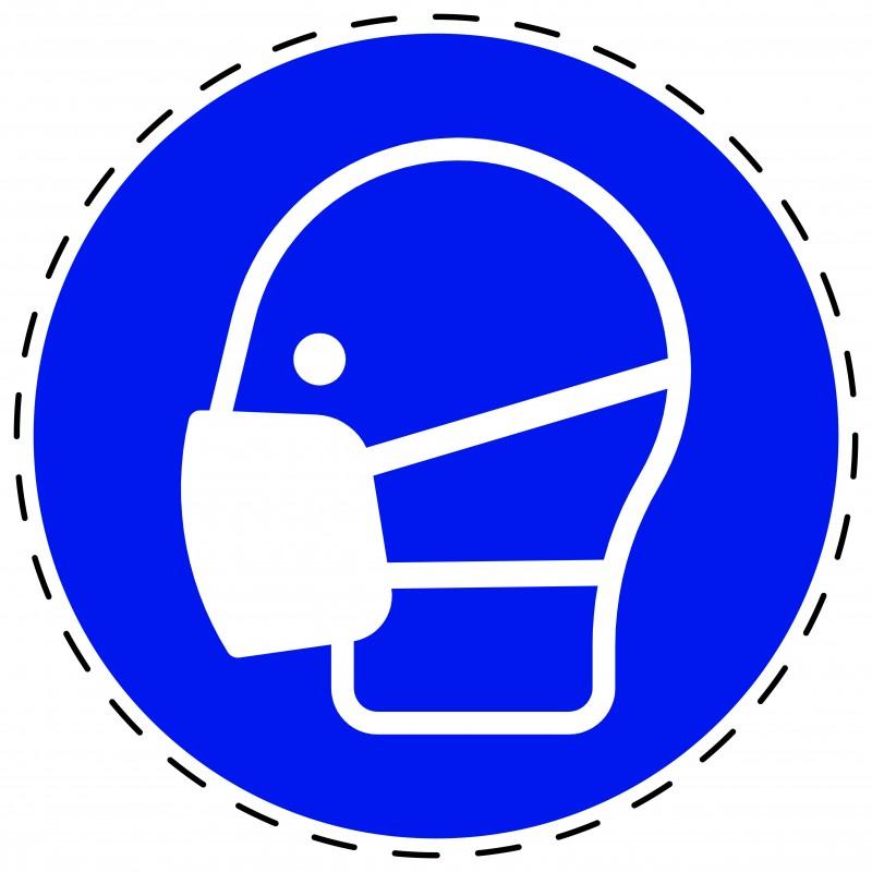 Panneau Autocollant D'Obligation - Masque Obligatoire