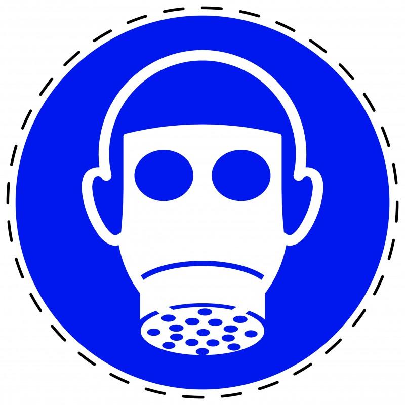 Panneau Autocollant D'Obligation - Protection des Voies Respiratoires Obligatoire