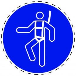 Panneau Autocollant D'Obligation - Harnais de Sécurité Obligatoire