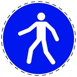 Panneau Autocollant D'Obligation - Utiliser le Passage Pour Piétons