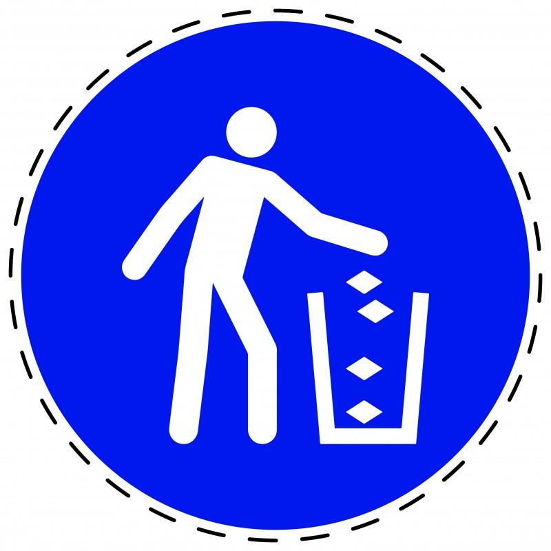 Panneau Autocollant D'Obligation - Utiliser la Poubelle
