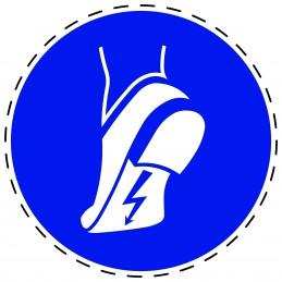 Panneau Autocollant D'Obligation - Chaussures Antistatiques Obligatoires