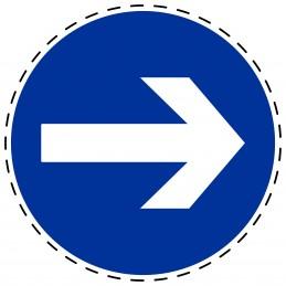 Panneau Autocollant D'Obligation - Obligatoire Droite
