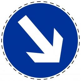 Panneau Autocollant D'Obligation - Obligatoire Droite Bas