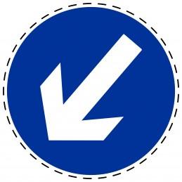 Panneau Autocollant D'Obligation - Obligatoire Gauche Bas