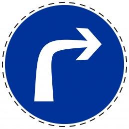 Panneau Autocollant D'Obligation - Obligatoire Tourne à Droite