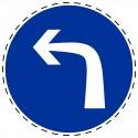 Panneau Autocollant D'Obligation - Obligatoire Tourne à Gauche