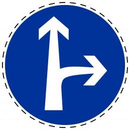 Panneau Autocollant D'Obligation - Obligatoire Droit et Droite