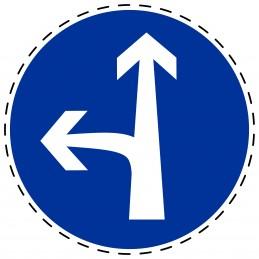 Panneau Autocollant D'Obligation - Obligatoire Droit et Gauche