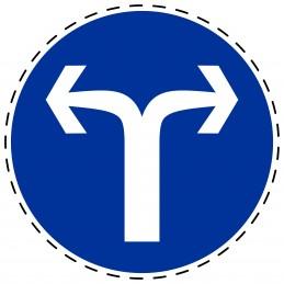Panneau Autocollant D'Obligation - Obligatoire Droite ou Gauche