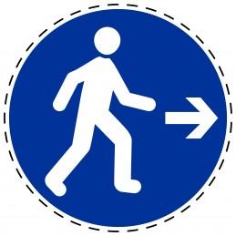 Panneau Autocollant D'Obligation - Piéton, à droit