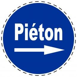 Panneau Autocollant D'Obligation - Piéton Flèche Droite