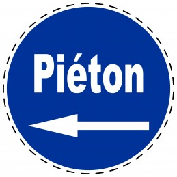 Panneau Autocollant D'Obligation - Piéton Flèche Gauche