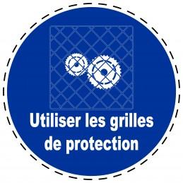 Panneau Autocollant D'Obligation - Utiliser les Grilles de Protection
