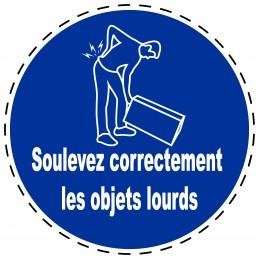 Panneau Autocollant D'Obligation - Soulevez Correctement les Objets...