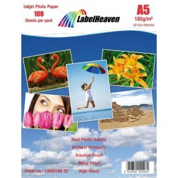 100 Feuilles LabelHeaven Papier Photo A5 180g/qm Ultra brillant Imperméable à l'eau