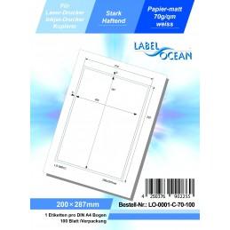 100 Feuille A4 Etiquettes Adhésives Autocollantes 200x287mm papier...