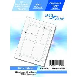 100 Feuille A4 Etiquettes Adhésives Autocollantes 99.1x139mm papier...