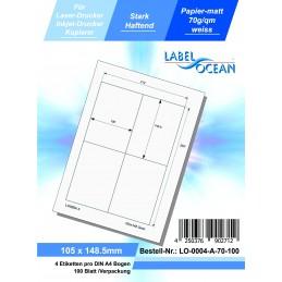 100 Feuille A4 Etiquettes Adhésives Autocollantes 105x148.5mm...