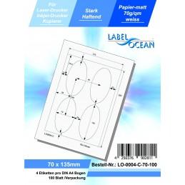 100 Feuille A4 Etiquettes Adhésives Autocollantes 70x135mm papier...