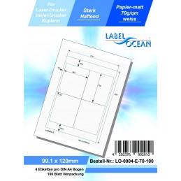 100 Feuille A4 Etiquettes Adhésives Autocollantes 99.1x120mm papier...
