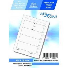100 Feuille A4 Etiquettes Adhésives Autocollantes 210x74.3mm papier...