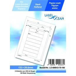 100 Feuille A4 Etiquettes Adhésives Autocollantes 133x29.6mm papier...