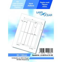 100 Feuille A4 Etiquettes Adhésives Autocollantes 39x138mm papier...