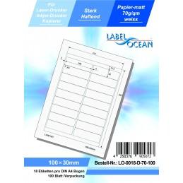 100 Feuille A4 Etiquettes Adhésives Autocollantes 100x30mm papier...